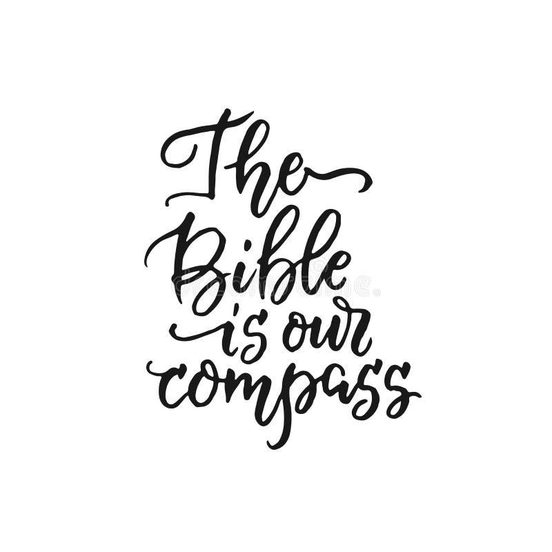 Библия наш компас - вероисповедания вектора вручают литерность иллюстрация штока