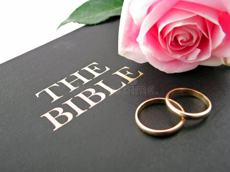 Библия, обручальные кольца и Rose стоковая фотография