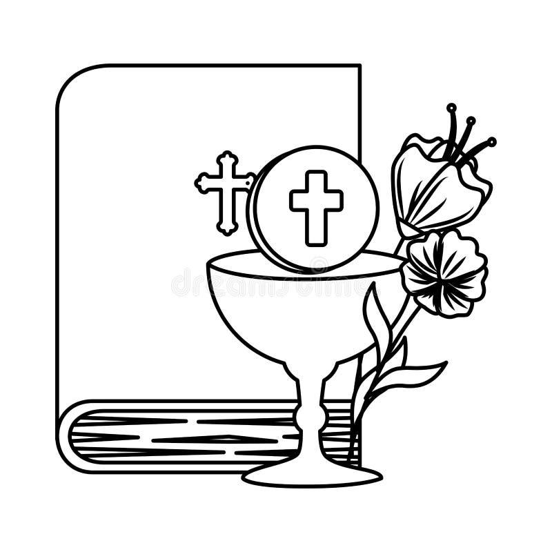 Библия с кубком и цветками бесплатная иллюстрация