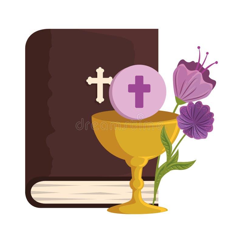 Библия с кубком и цветками иллюстрация штока