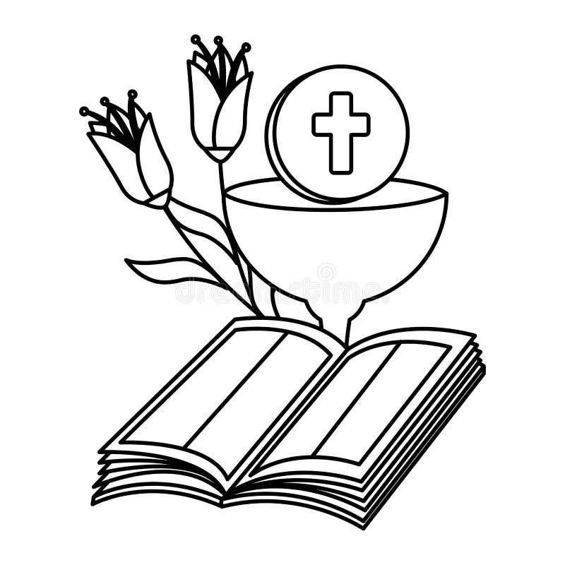 Библия с кубком и цветками иллюстрация вектора