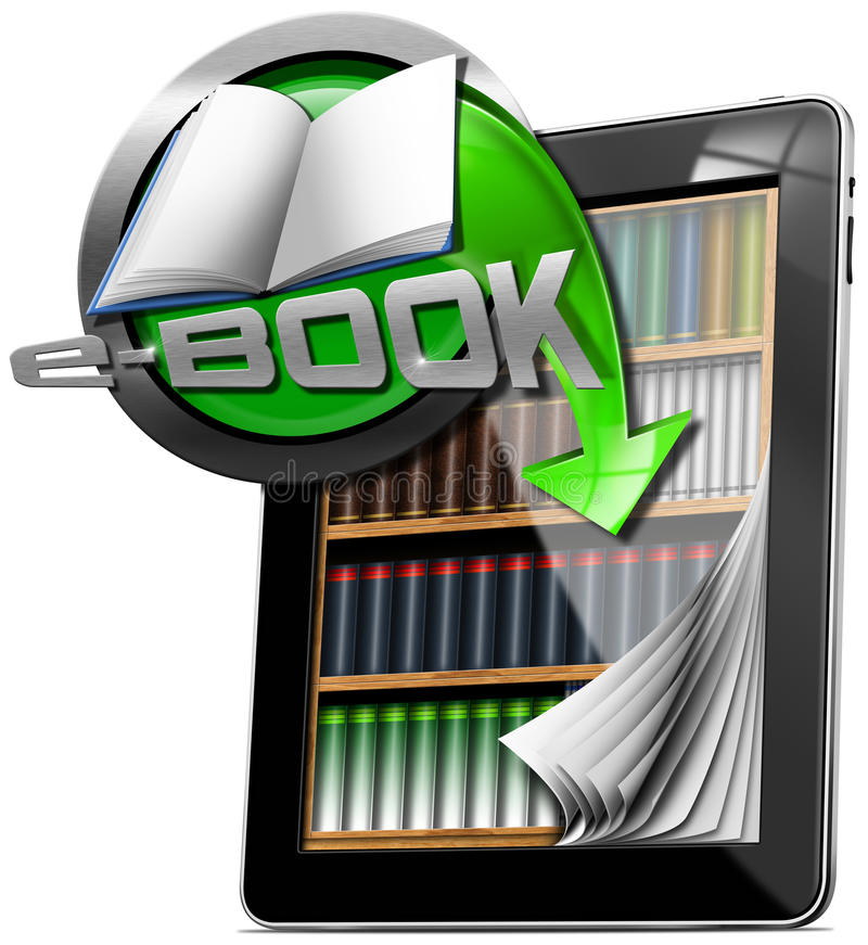 Библиотека EBook таблетки компьютерная иллюстрация вектора