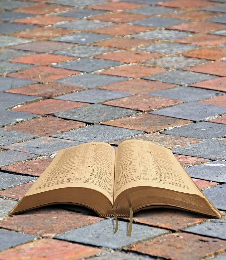Библия на chequered пути стоковая фотография