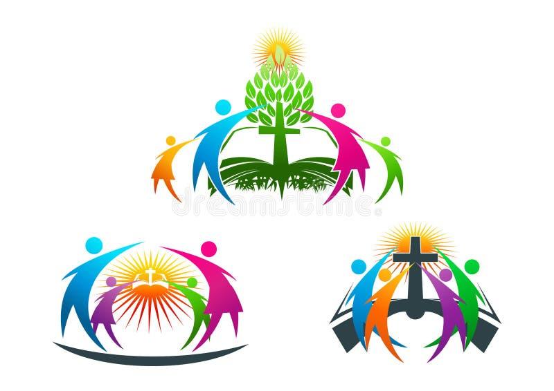 Библия, люди, дерево, корень, христианин, логотип, семья, книга, церковь, вектор, символ, дизайн иллюстрация штока