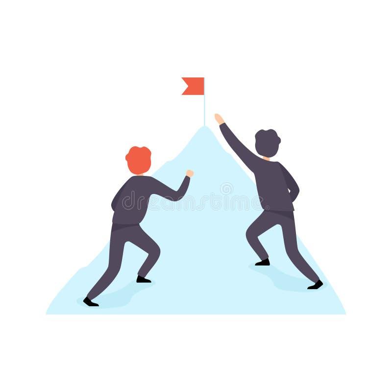 2 бизнесмена взбираясь гора, конкуренция дела, соперничество между коллегами, бросать вызов работников офиса иллюстрация вектора