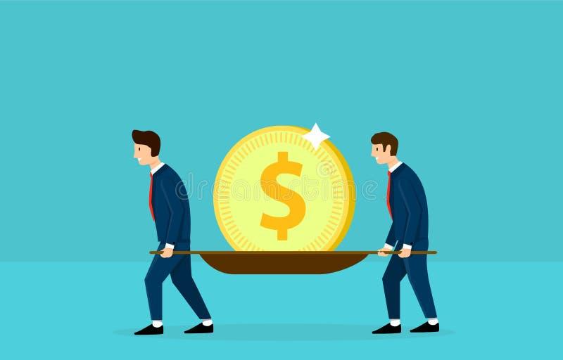 2 бизнесмена принимают доллар на растяжителе Концепция дела потехи Дизайн дизайна вектора иллюстрация штока