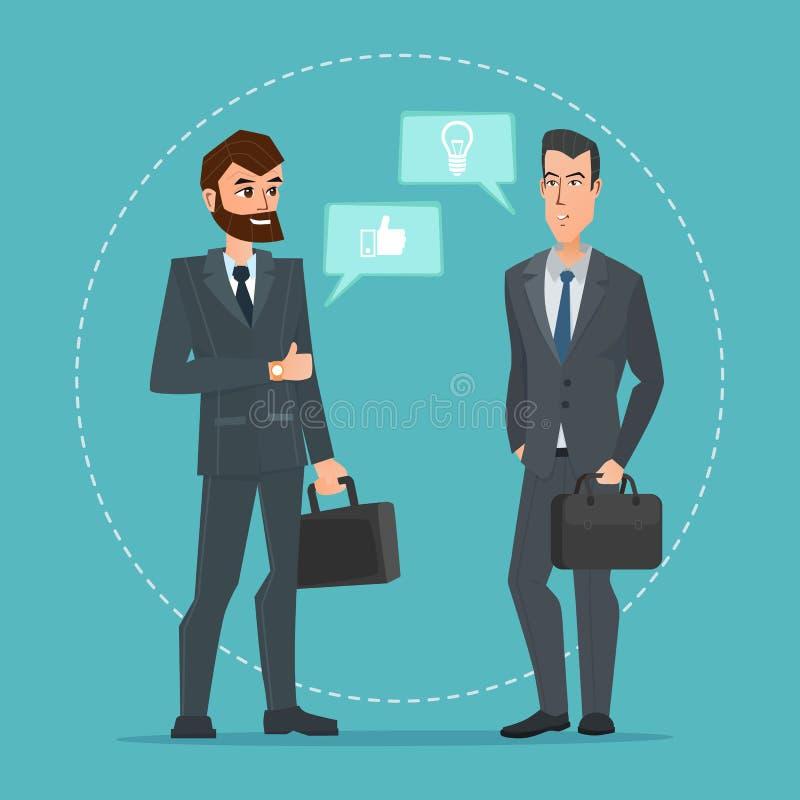 2 бизнесмена стоя, говорящ, обсуждающ обсуждать бесплатная иллюстрация