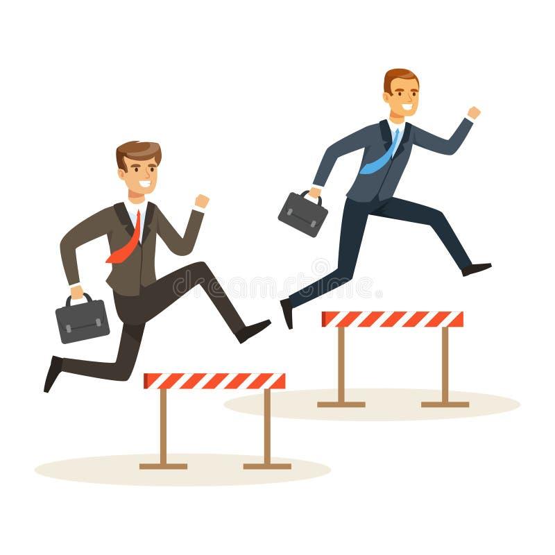 2 бизнесмена участвуя в гонке над препятствиями барьера, иллюстрацией вектора конкуренции дела бесплатная иллюстрация