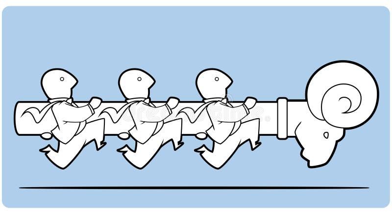 Бизнесмены атакуя носящ таран иллюстрация вектора