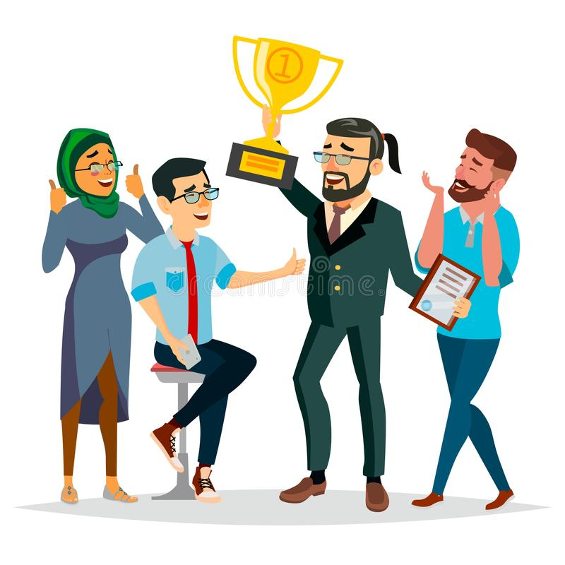 Бизнесмены вектора достижения Руководитель бизнесмена держа чашку победителя золотую Современный работник офиса Изолированная ква бесплатная иллюстрация