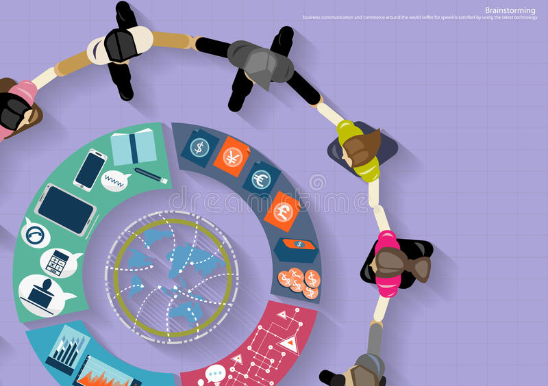 Бизнесмены вектора коллективно обсуждать встречу в офисе и передвижной технологии таблетки бесплатная иллюстрация