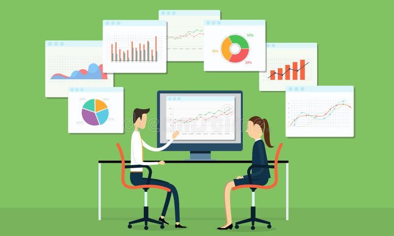 Бизнесмены вектора на диаграмме маркетинга иллюстрация штока