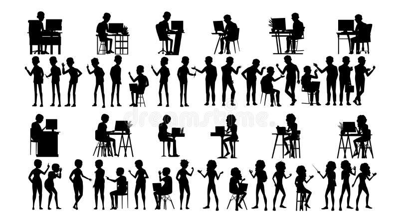 Бизнесмены вектора силуэта установленного Мужчина, женский План группы Форма человека профессиональная команда белизна костюма ру иллюстрация вектора