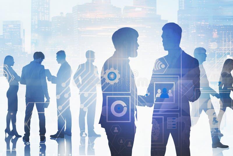 Бизнесмены в городе, интерфейсе дела стоковые фотографии rf