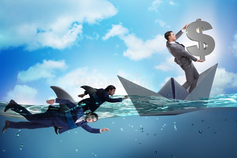 Бизнесмены в концепции конкуренции с акулой иллюстрация вектора