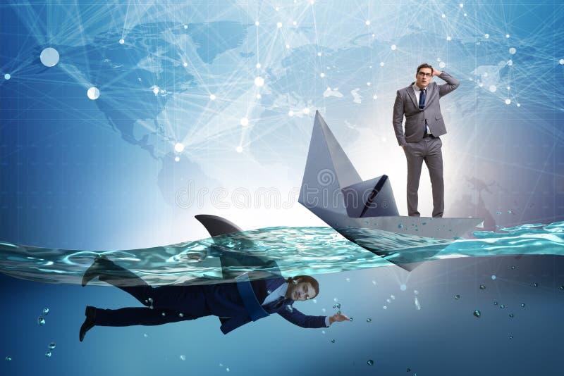 Бизнесмены в концепции конкуренции с акулой иллюстрация штока