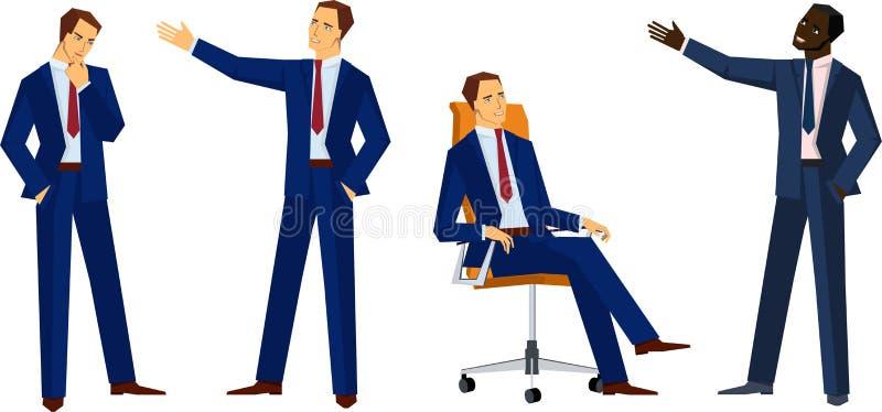 Бизнесмены в различных представлениях иллюстрация вектора