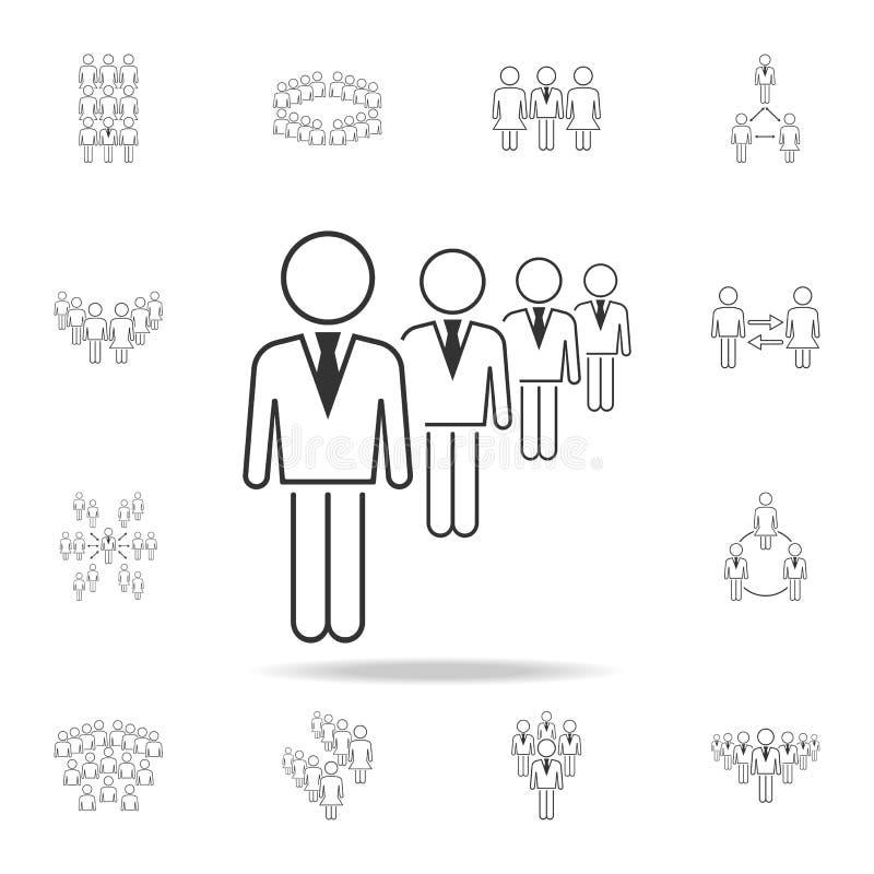 бизнесмены в ряд значка Детальный набор людей в значках работы Наградной графический дизайн Один из значков собрания для иллюстрация штока