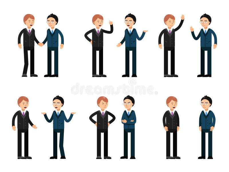 бизнесмены говоря 2 Комплект работы вектора characters иллюстрация штока