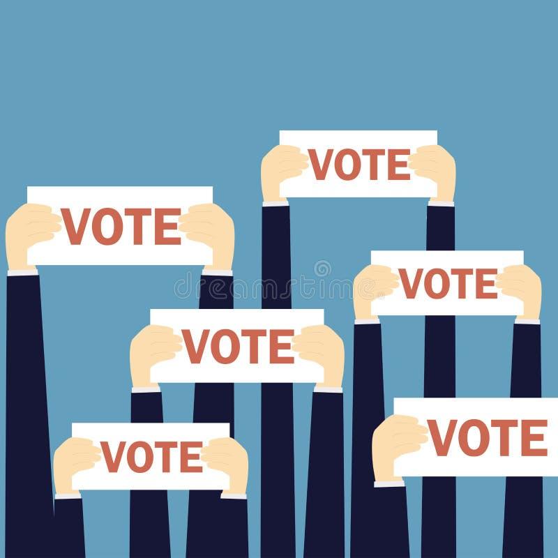 Бизнесмены держа шильдик с голосованием слова иллюстрация вектора