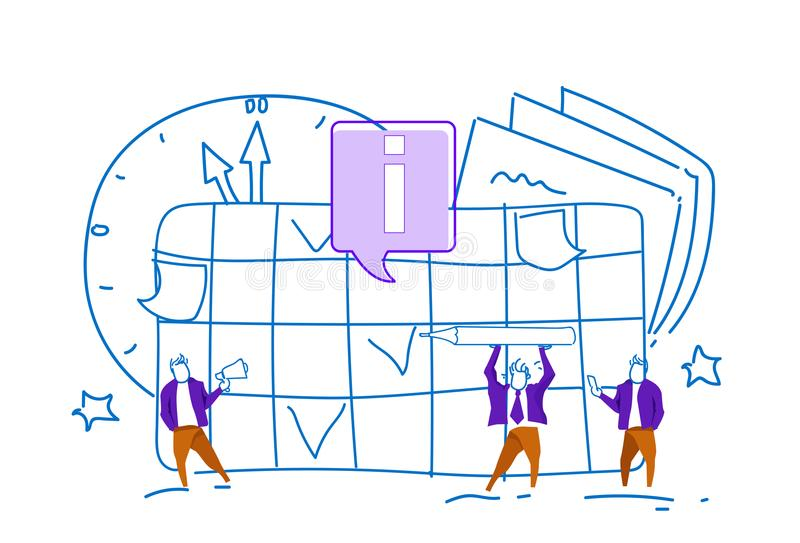 Бизнесмены изменяют бизнесменов процесса планирования значка данным по концепции контроля времени план-графика события трудного р иллюстрация вектора