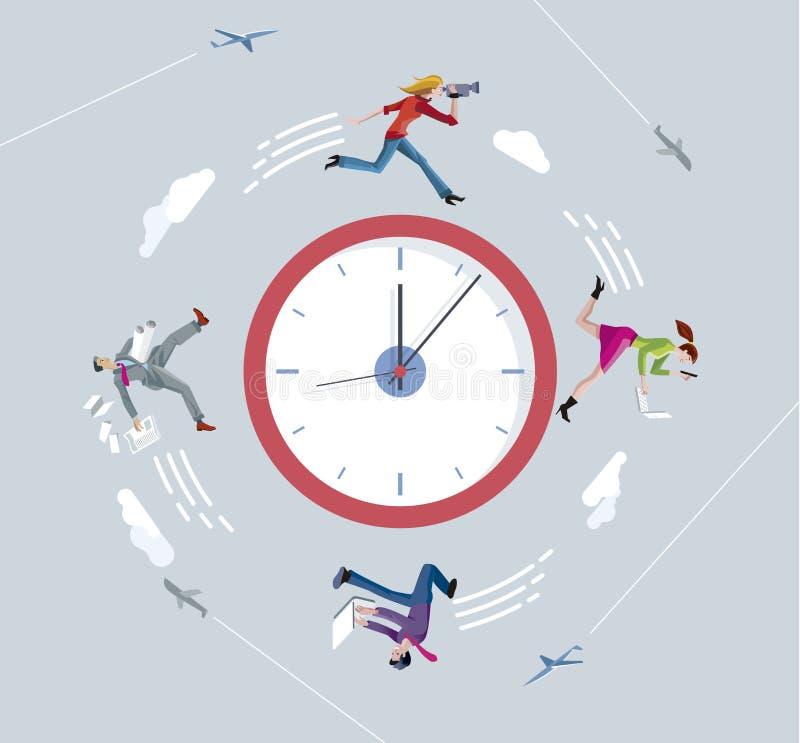 Бизнесмены и коммерсантки бежать против часов иллюстрация вектора