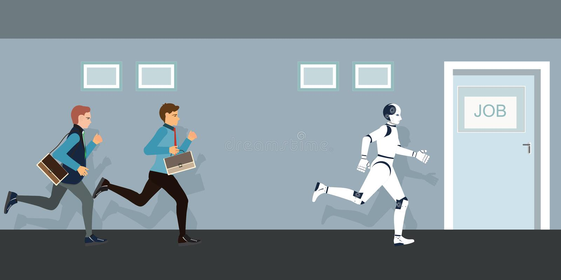 Бизнесмены и робот состязаясь к двери работы иллюстрация штока