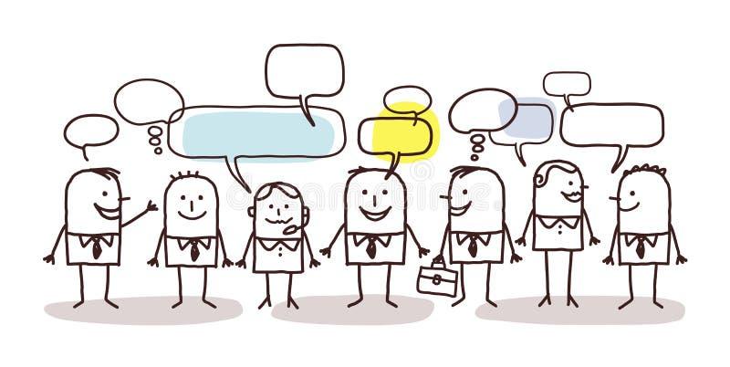 Бизнесмены и социальная сеть иллюстрация штока