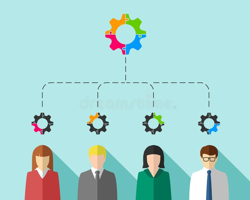 Бизнесмены как концепция сыгранности и стратегии иллюстрация вектора
