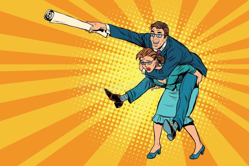 Бизнесмены катания на женщине, нападения человека иллюстрация вектора