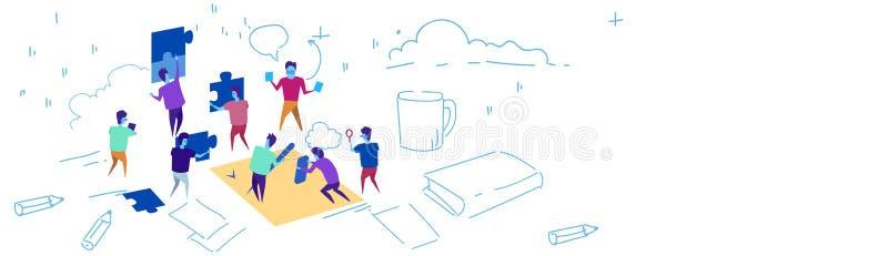 Бизнесмены кладя эскиз решения проблемы концепции зигзага команды частей головоломки работая трудолюбивый отростчатый doodle иллюстрация вектора