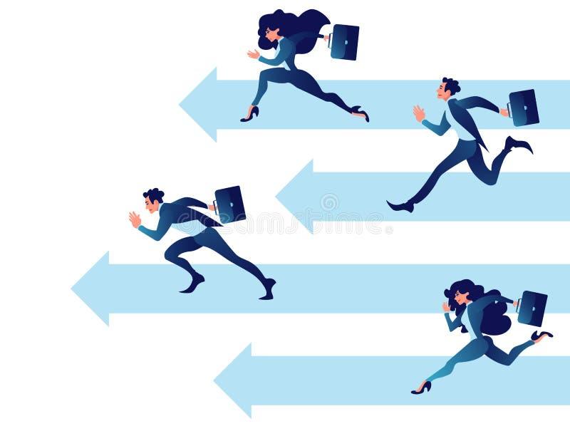 Бизнесмены конкуренции Принципиальная схема дела сыгранности Хорошие прогресс и рост дела иллюстрация штока