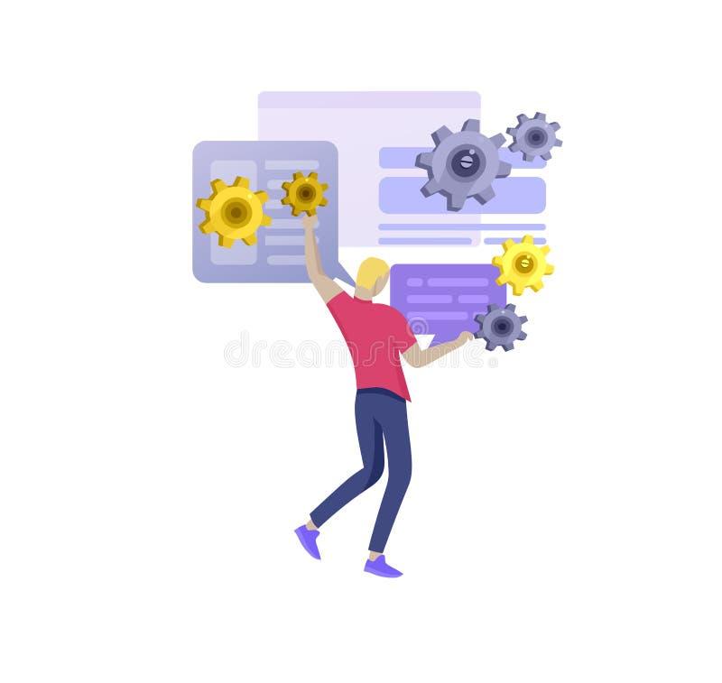 Бизнесмены концепции офиса для руководства проектом, дела, потока операций и советовать с r иллюстрация штока