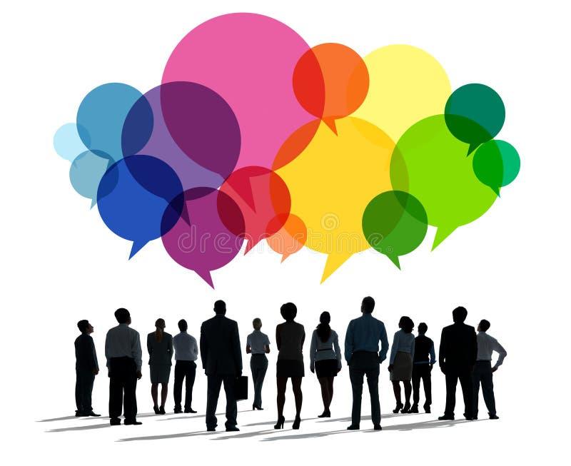 Бизнесмены концепции связи сообщения говоря стоковое изображение rf