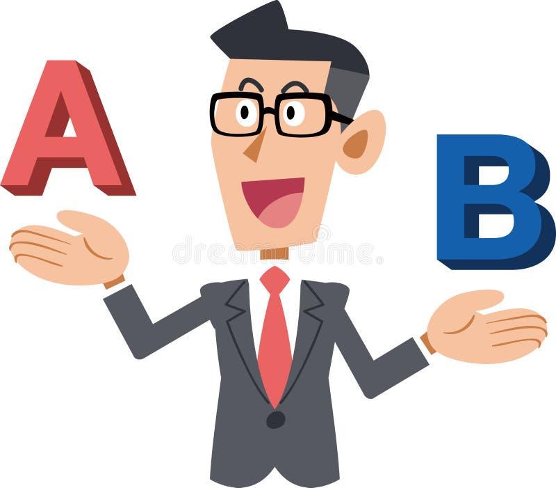 Бизнесмены которые носят стекла которое сравнивает a или b бесплатная иллюстрация