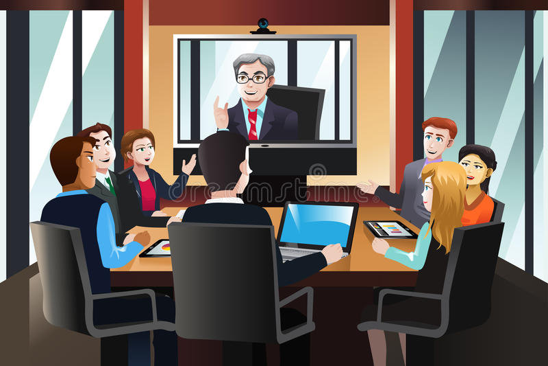 Бизнесмены на видеоконференции иллюстрация вектора