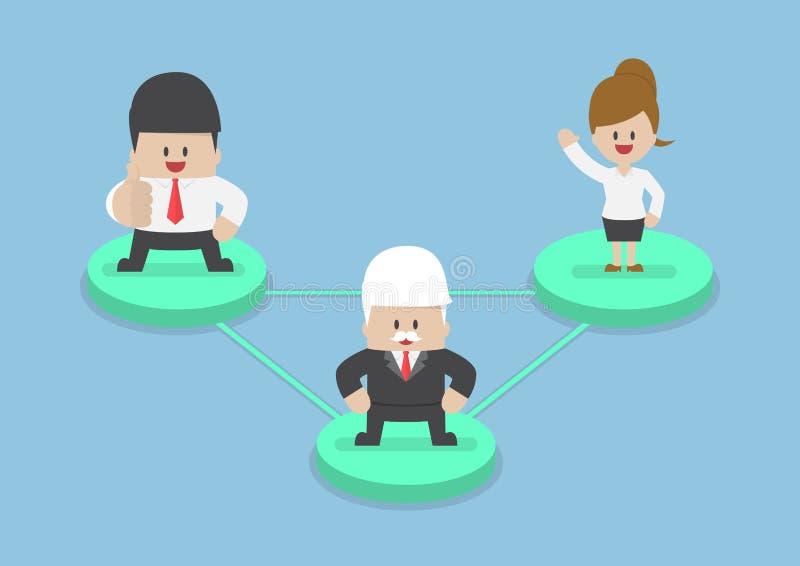 Бизнесмены на узле соединенном линиями сети иллюстрация вектора