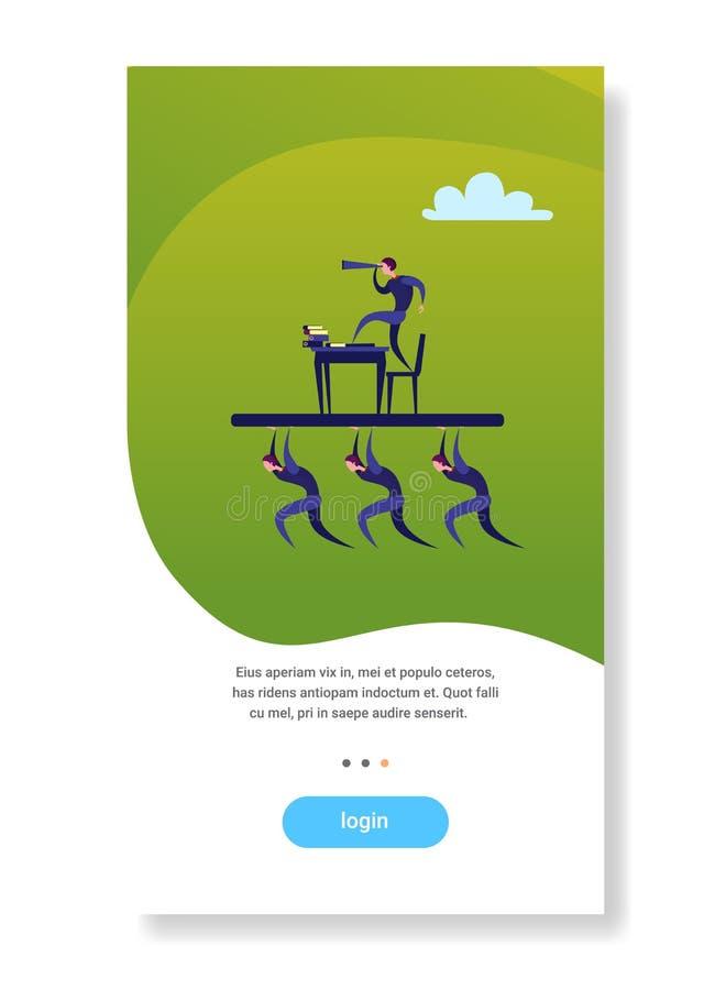 Бизнесмены объединяются в команду бизнесмен владением с бинокулярной выглядя концепцией зрения стратегии сыгранности будущего рук иллюстрация штока