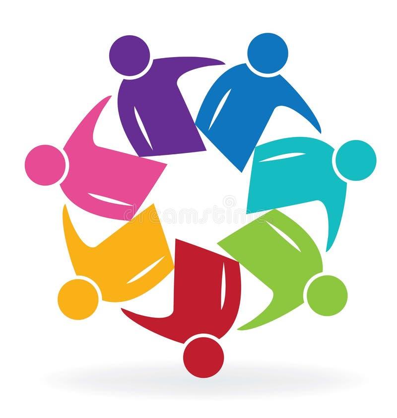 Бизнесмены логотипа встречи сыгранности иллюстрация штока