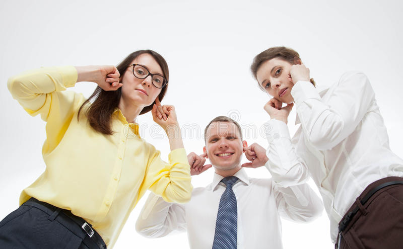 Бизнесмены отказывая слушать кто-нибудь стоковая фотография