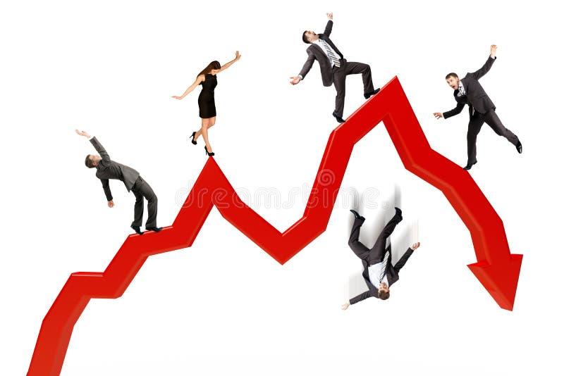 Бизнесмены падая от стрелки иллюстрация вектора