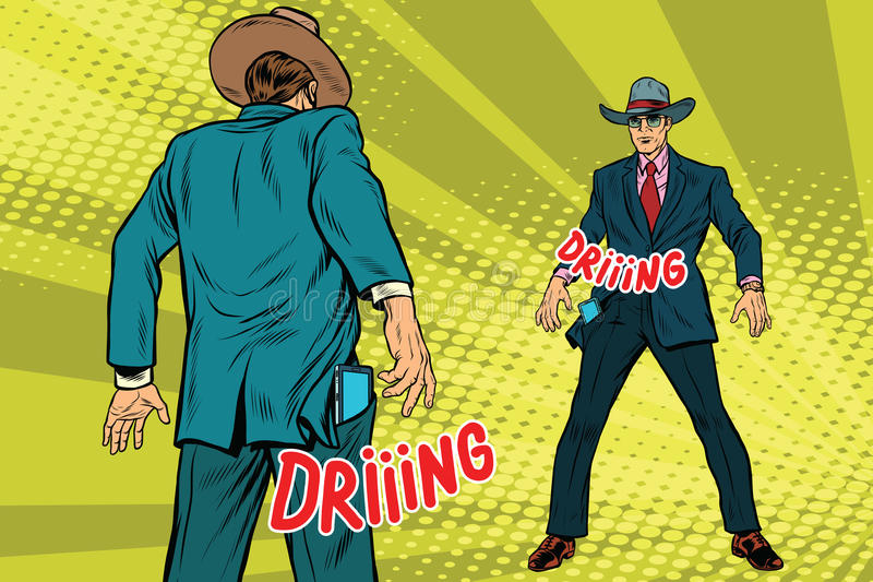 Бизнесмены поединка на smartphones в стиле westerns иллюстрация вектора