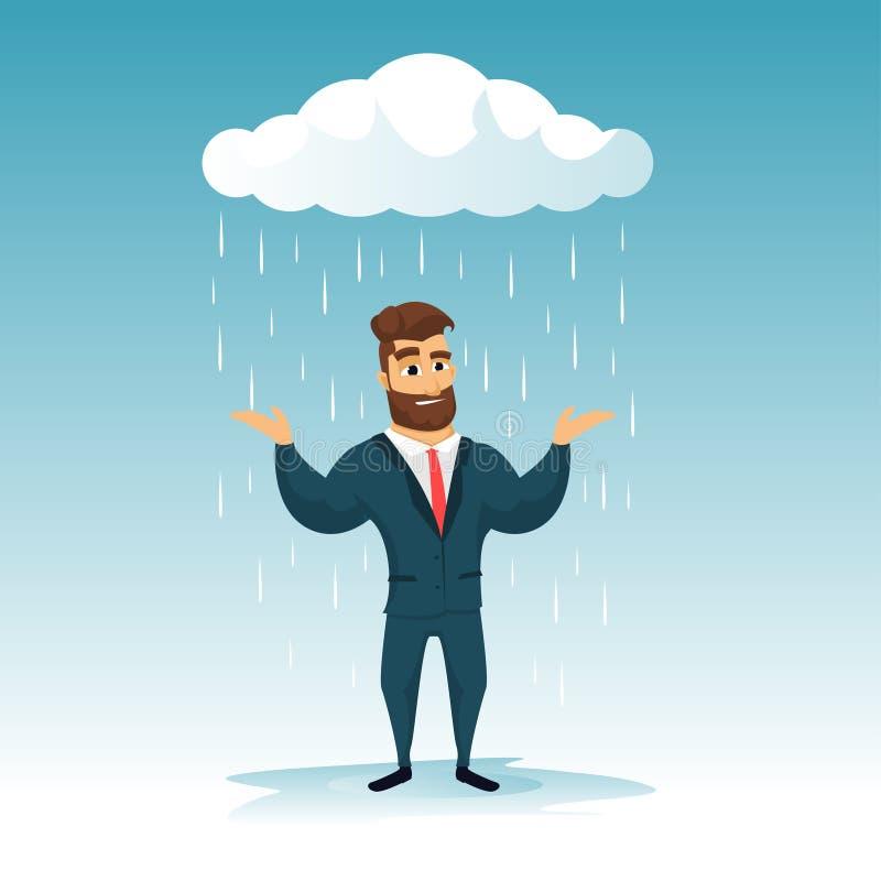 Бизнесмены потехи бородатые идя дождь день иллюстрация штока