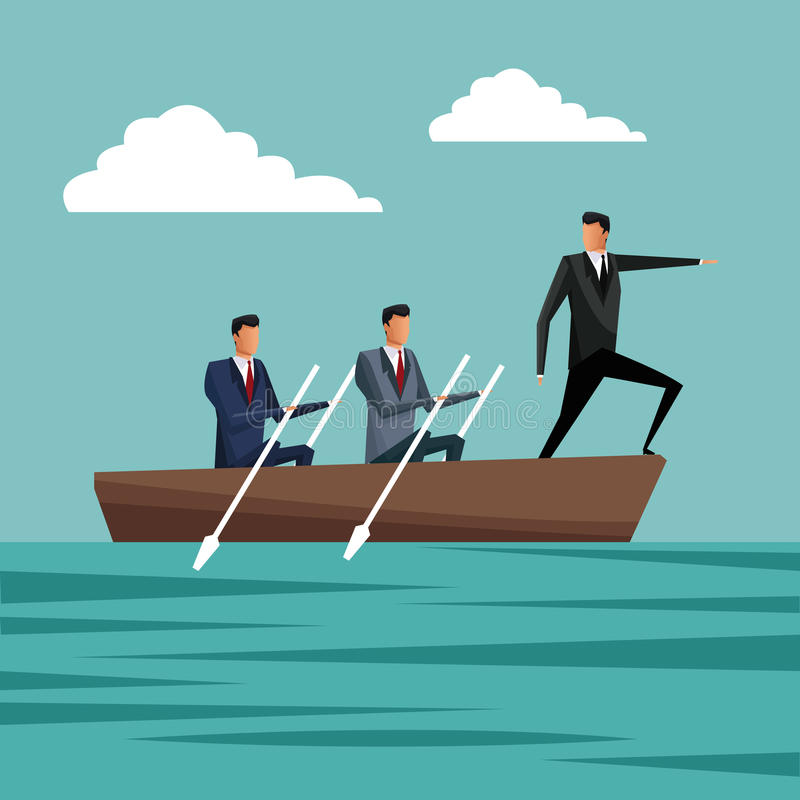 Бизнесмены полоща рост менеджера работы команды бесплатная иллюстрация