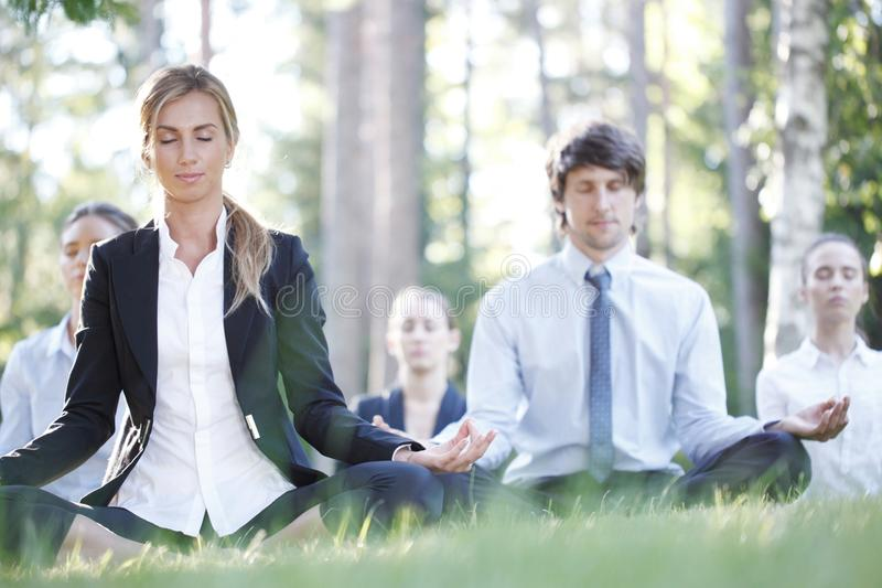 Бизнесмены практикуя йогу стоковые фотографии rf