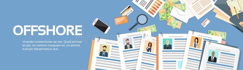 Бизнесмены предпринимателей Оффшорный Бумаг Документов Компании иллюстрация штока