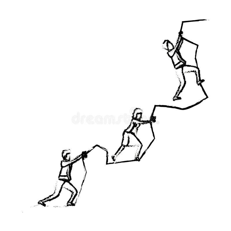 Бизнесмены пробуя взобраться к верхней части силуэта горы утеса запачкали monochrome иллюстрация штока