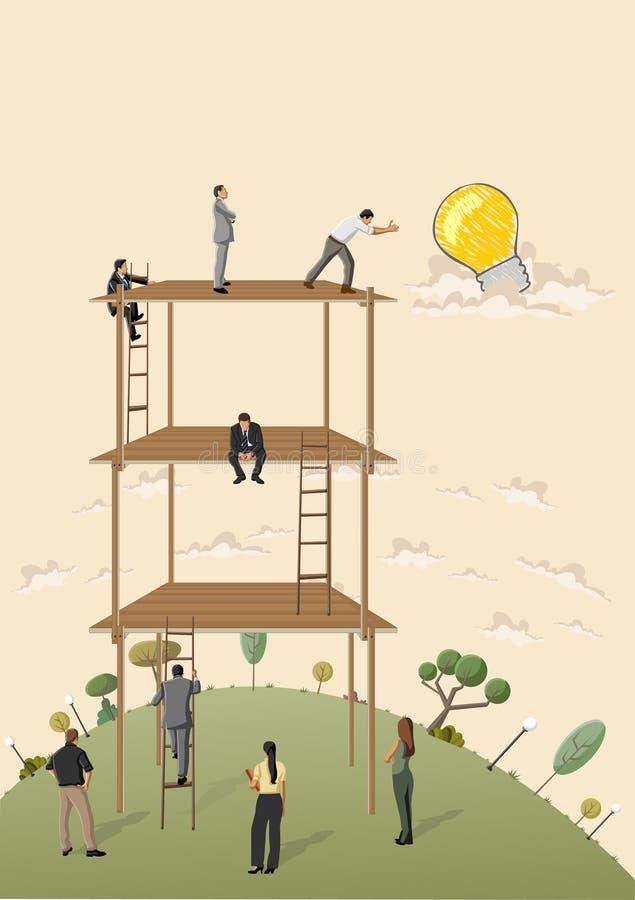 Бизнесмены пробуя достигнуть идею бесплатная иллюстрация