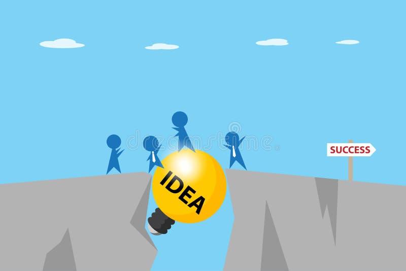 Бизнесмены проходят зазор между скалами с электрической лампочкой, идеей и концепцией дела бесплатная иллюстрация