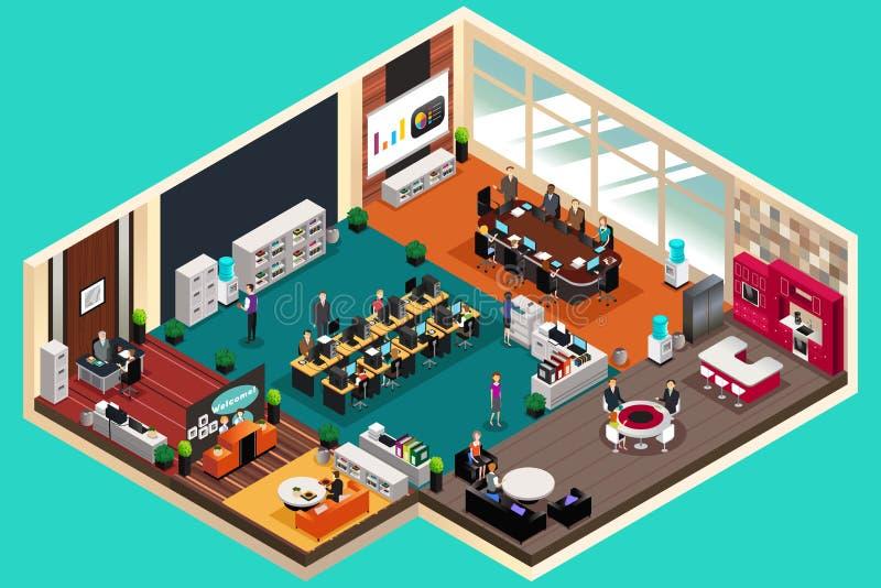 Бизнесмены работая в офисе в равновеликом стиле иллюстрация вектора